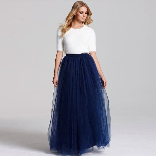 blue maxi skirt 5 layers 110cm long tulle skirts womens pleated maxi skirt navy blue  fashion wedding EBQJXSD