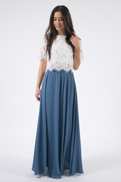blue maxi skirt kelly slate blue full maxi skirt - skylar belle TLBSNCH