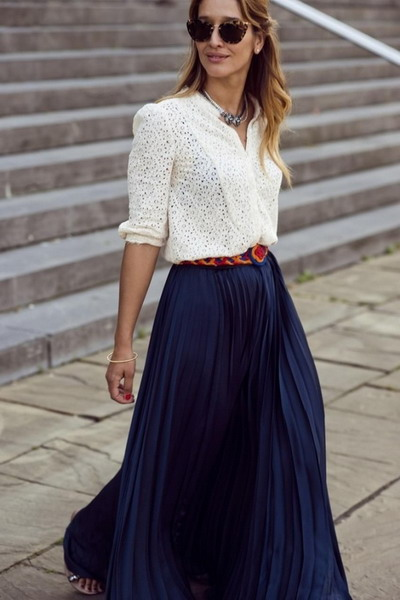 blue maxi skirt maxi skirt navy blue color HAMRCUT