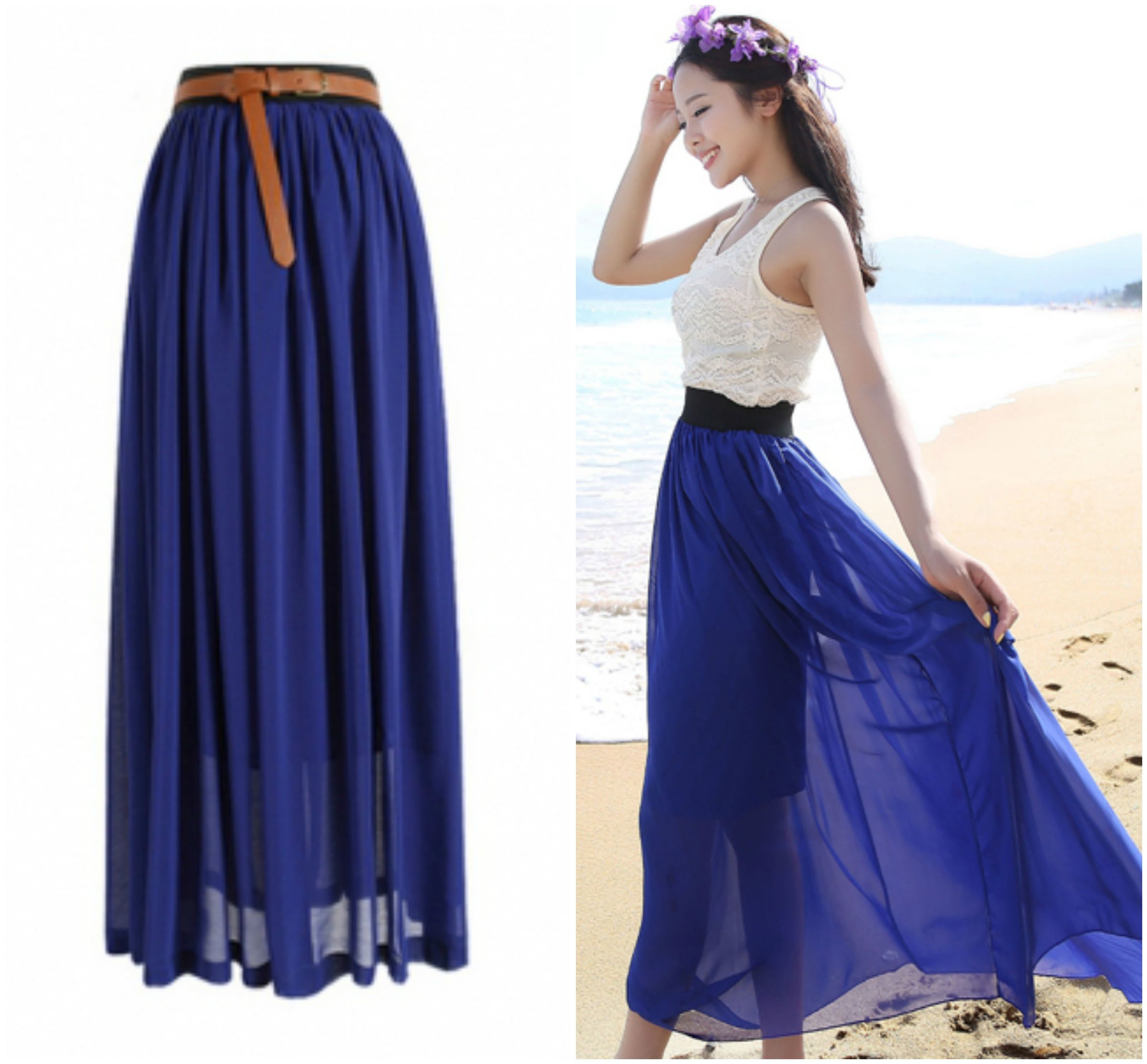 blue maxi skirt navy blue chiffon maxi skirt HDBOPJX