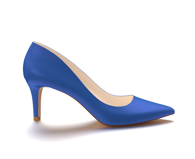 blue pumps pointed toe three inch heels, blue soft leather RHHKUIO