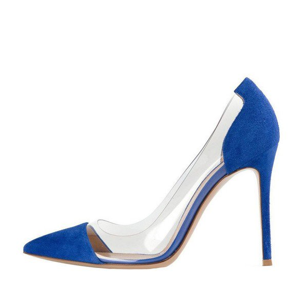 Blue suede pumps ... womenu0027s blue suede pointed toe stiletto heel clear heels pumps shoes  image ... JMKRPJZ