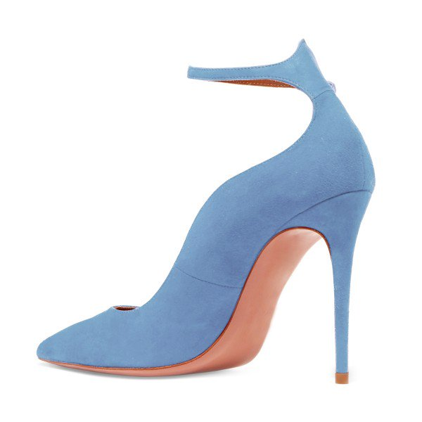 Blue suede pumps ... womenu0027s light blue suede ankle strap heels stiletto heel pumps image ... YUZTWUU