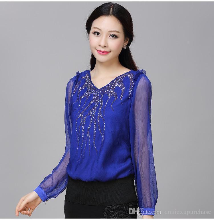 blue tops 2018 fashion women ladies female elegant casual chiffon shirts tops blouse  royal blue v MIAISGV
