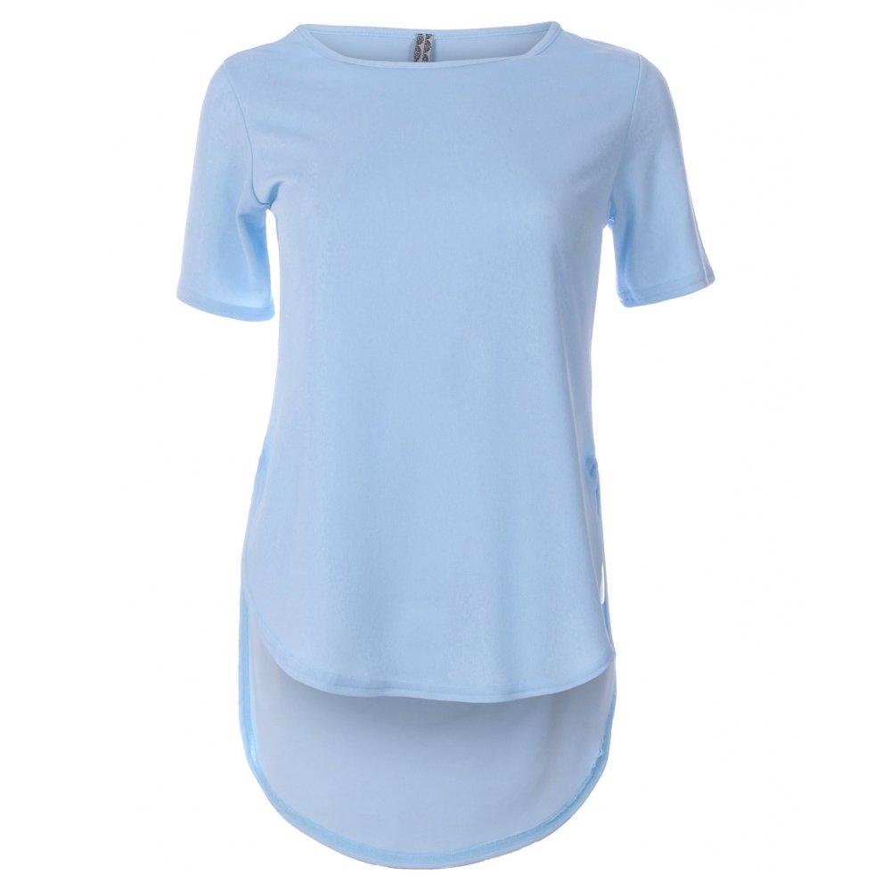 blue tops blue inc woman womens light blue drop hem plain top VYPGUFT