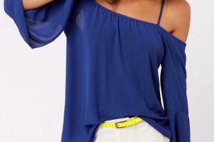 blue tops shoulder of fortune off-the-shoulder royal blue top NMOZFCT