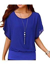 blue tops womenu0027s loose casual short sleeve chiffon top t-shirt blouse (l, blue) EVAQZYT