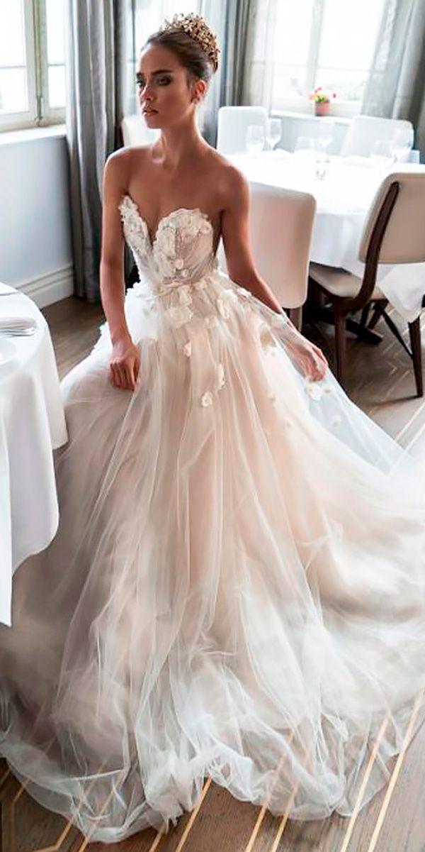 Blush Wedding Dresses a line lace strapless sweetheart blush wedding dresses elihav sasson UXAYQCR