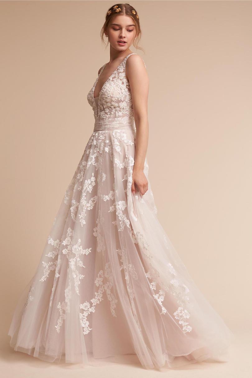 Blush Wedding Dresses crystal embellished lace gown BTGICGR