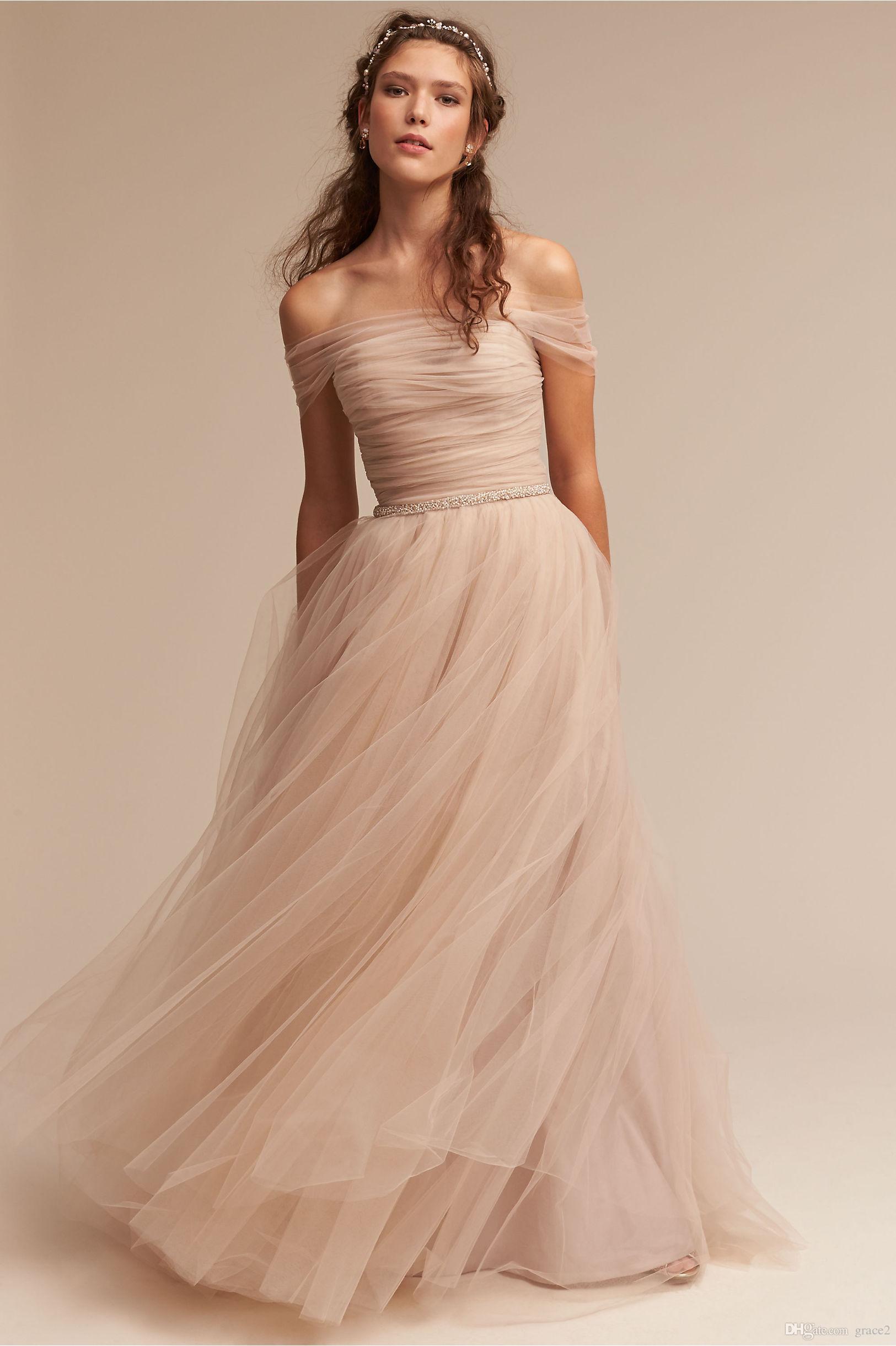 Blush Wedding Dresses discount modern blush wedding dresses 2017 bhldn vestido de noiva with  illusion off shoulder IUFWBMB
