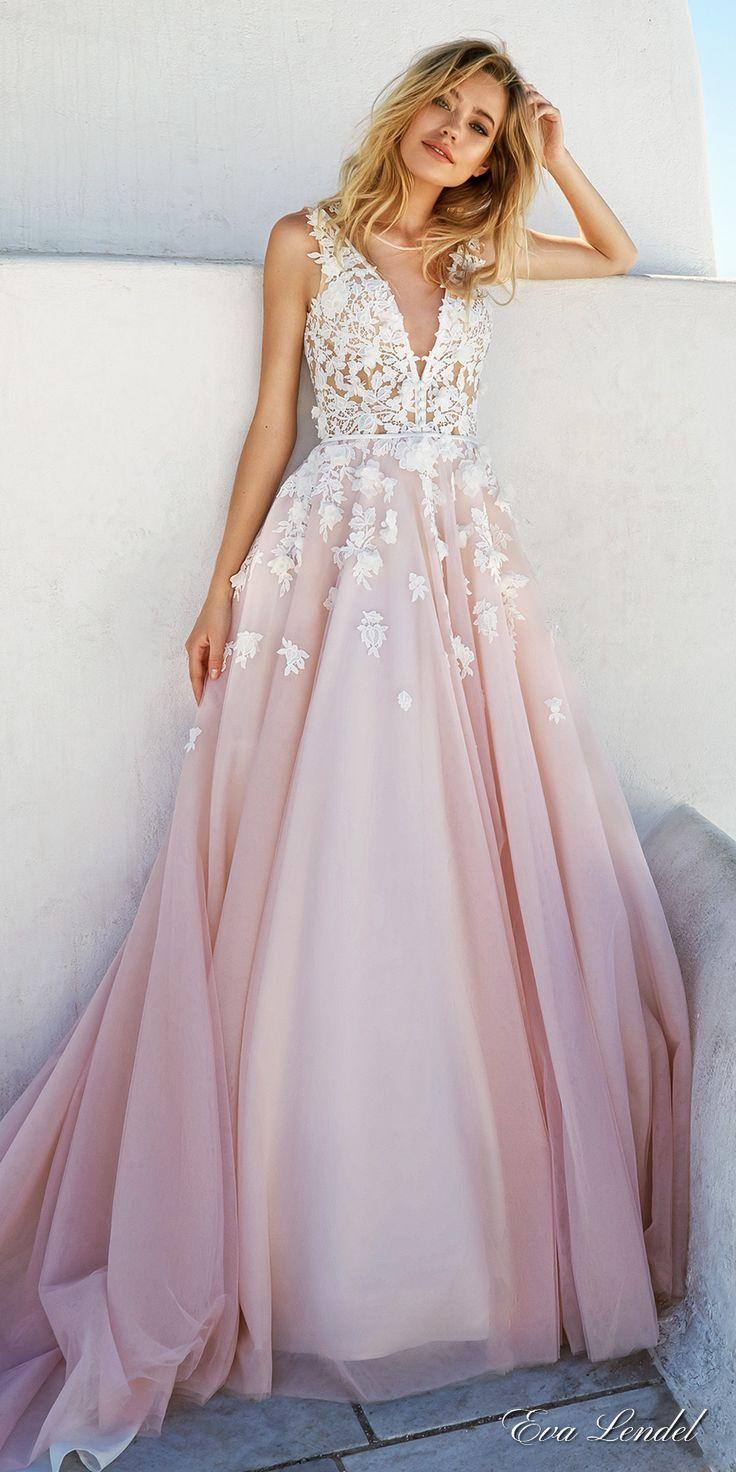 Blush Wedding Dresses eva lendel 2017 bridal sleeves deep v neck heavily embellished bodice  romantic pretty pink LNFPNUW