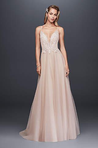 Blush Wedding Dresses long a-line glamorous wedding dress - galina signature GRJYXPD