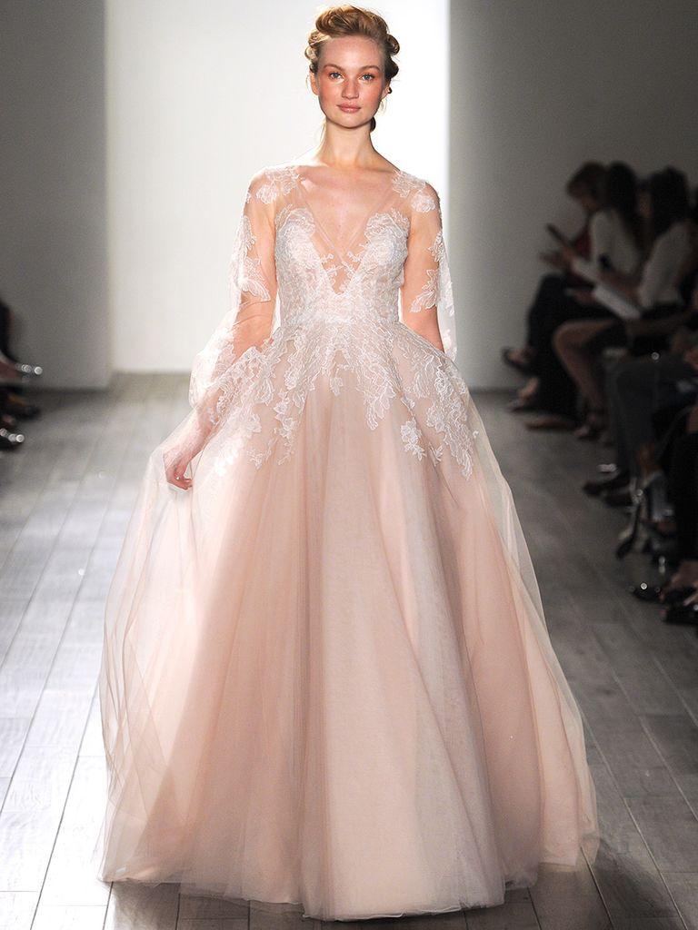 Blush Wedding Dresses long sleeved blush pink hayley paige wedding gown CDJIKJO