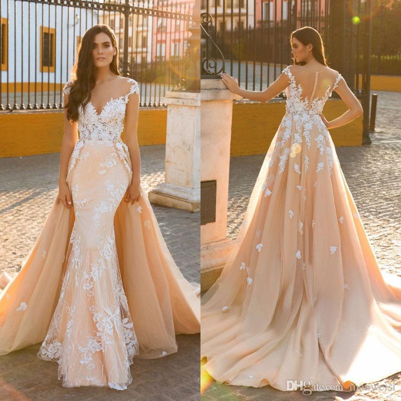 Blush Wedding Dresses mermaid blush wedding dresses with detachable train 2017 crystal desing  sheer jewel neckline lace CBOEPPJ
