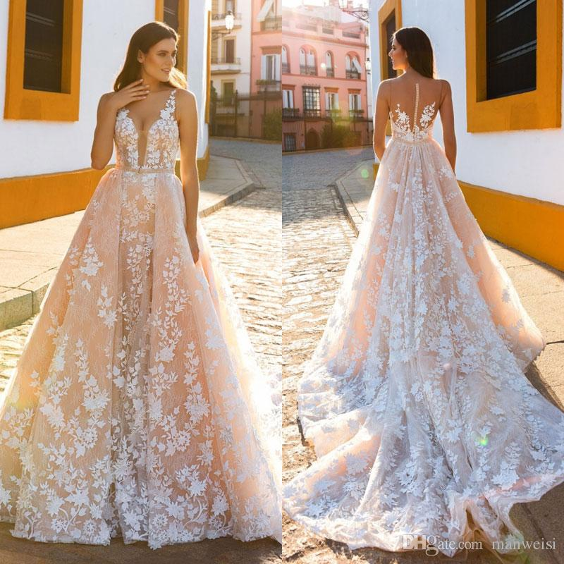 Blush Wedding Dresses sexy mermaid blush wedding dresses with detachable train 2017 crystal  desing sheer plunging neckline JMIAQXC