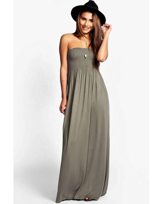 boohoo - gray shirred bandeau maxi dress - lyst ... QCLXAMT