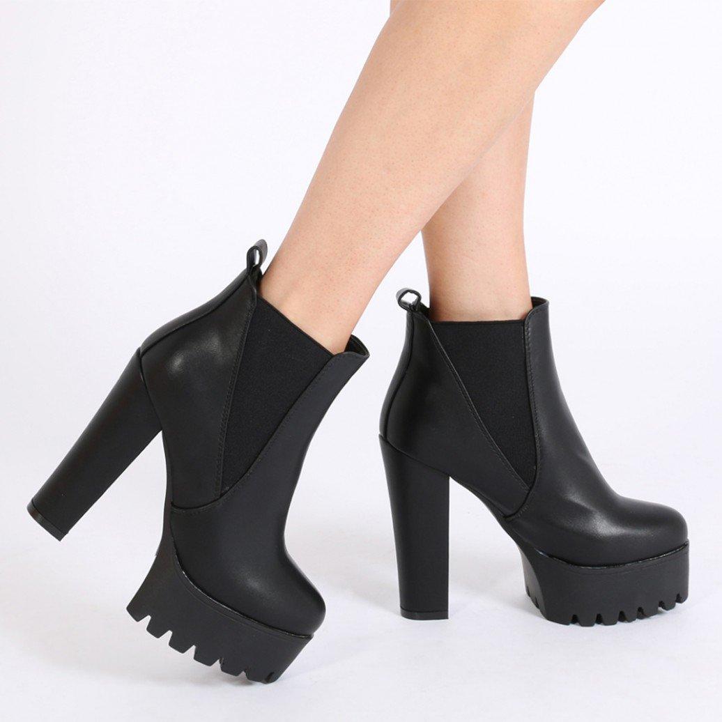 boots heels hallie black pu high heel chelsea boots BLOYNRN