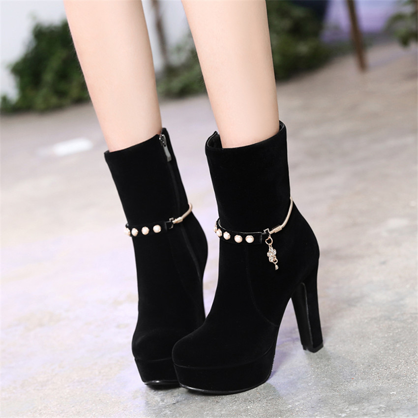 boots heels spring autumn high heels women platform ankle boots pumps woman short boots  high heel ZKTJFRW