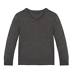 boys jumpers debenhams - childrenu0027s grey v neck jumper FLKCSRQ