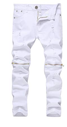 Boys white pants boyu0027s white slim fit skinny jeans ripped elastic waist pants with zipper  for kids,white AHNPYXM