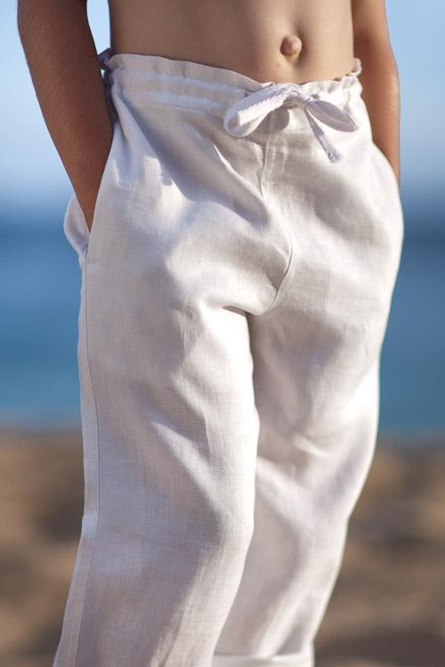 Boys white pants ... boysu0027 linen riviera pant - adjustable drawstring waist - relaxed fit -  white IIAWQFA