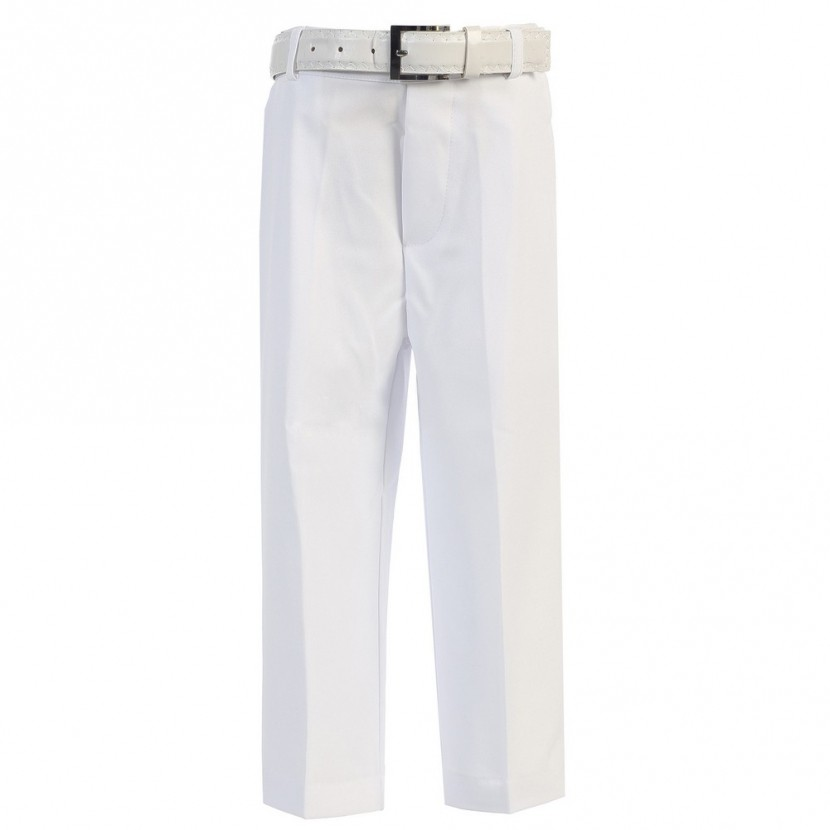 Boys white pants little boys white flat front solid belt special occasion dress pants 2t-7 KGPIYIX