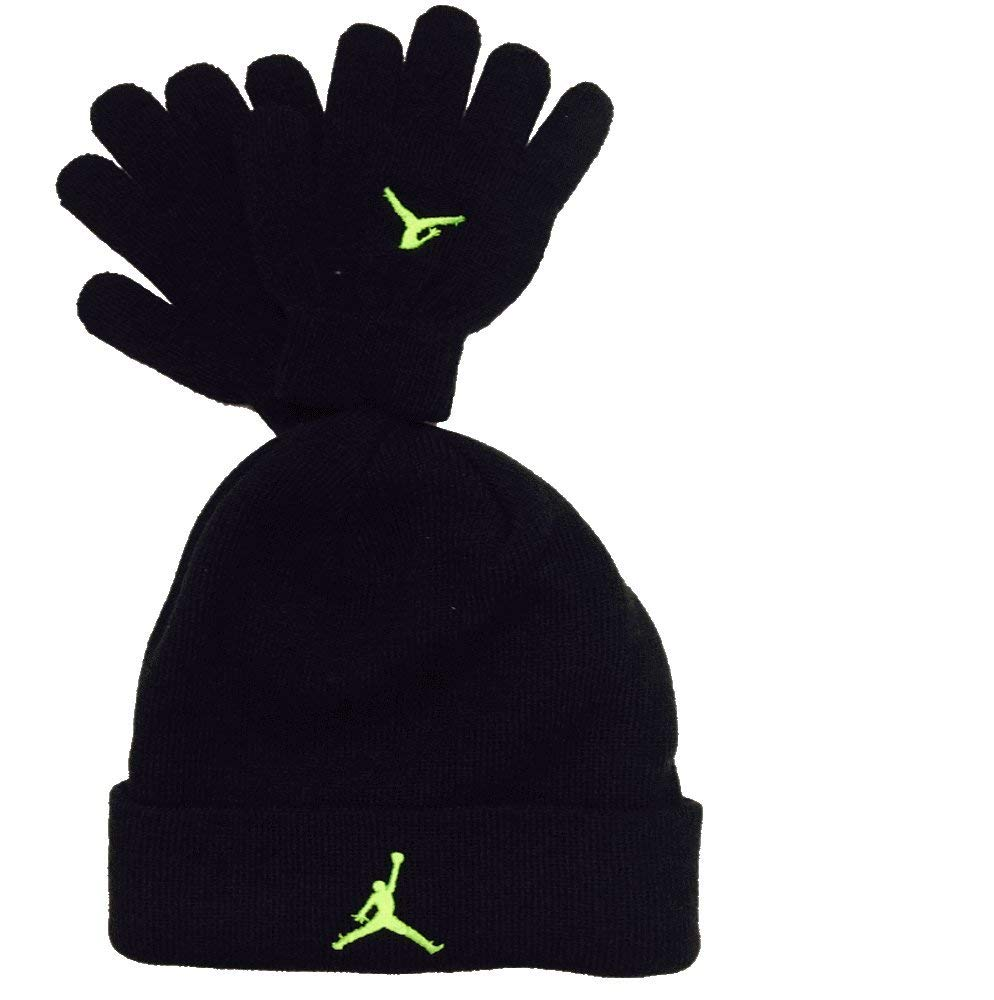 boys winter hats amazon.com: nike air jordan boys winter hat beanie cap gloves set  black/neon 8/20: sports IQKBCMB
