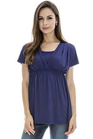 breast feeding tops bearsland womenu0027s breastfeeding and nursing summer top blue size m FBKBMWV