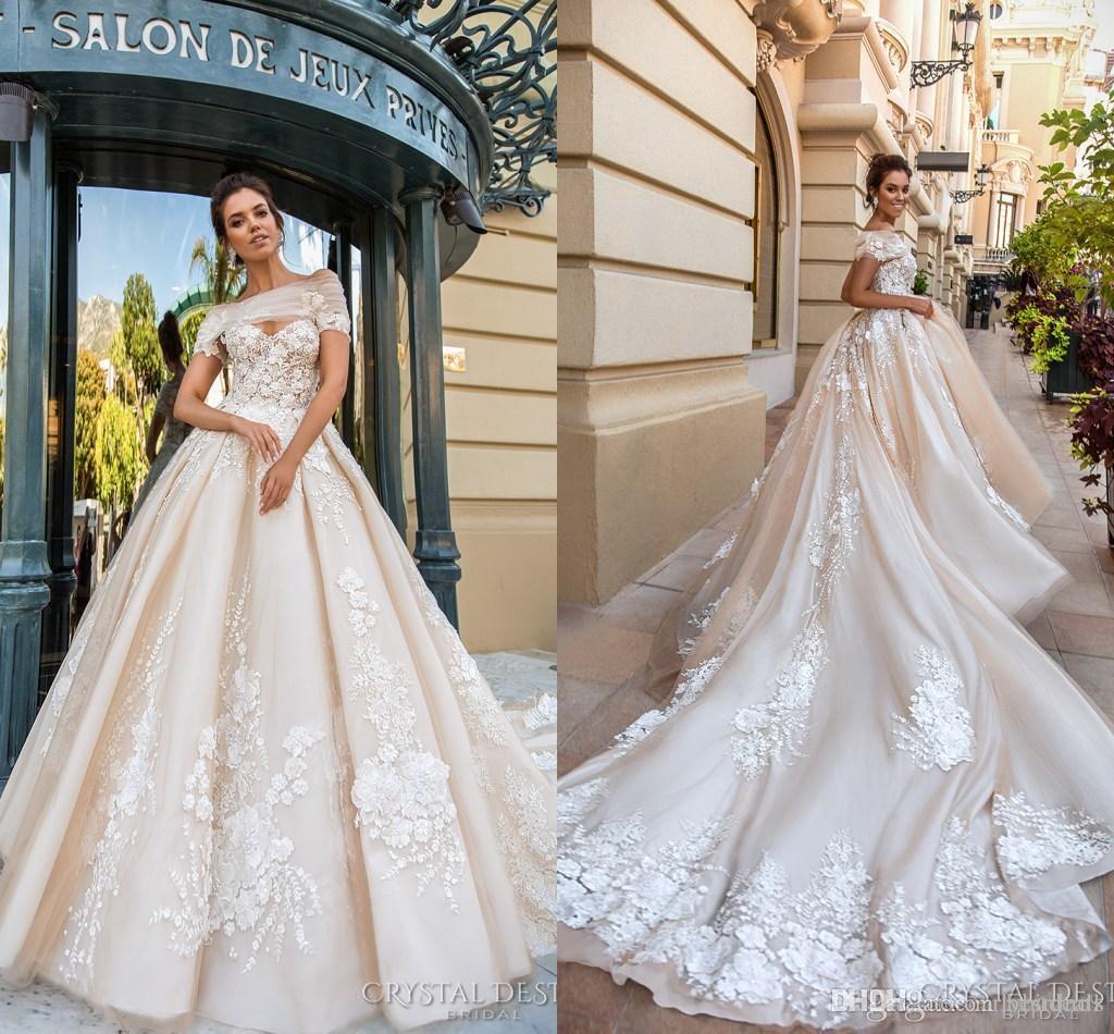 bridal dress 2018 gorgeous designer wedding dresses 3d floral applique cathedral train  lace up back luxury KPYAFBL
