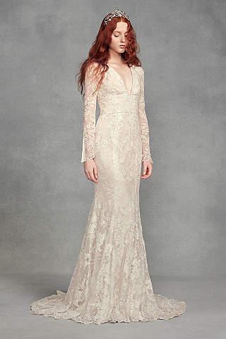 bridal dress long mermaid/ trumpet boho wedding dress - white by vera wang PCJETKS