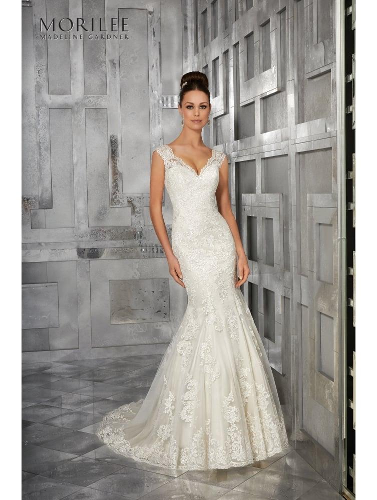 bridal dress mori lee 5562 monet soft fit and flare ivory wedding dress JOKCXHW