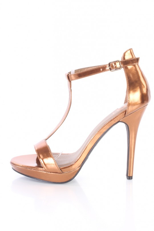 Bronze Heels bronze t strap open toe heels metallic faux leather KGUHYKO