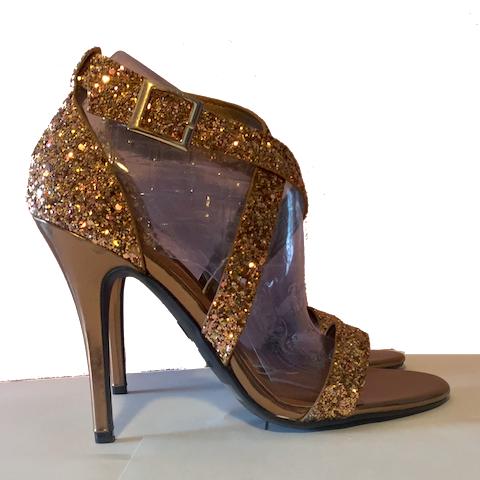Bronze Heels ... womenu0027s sparkly bronze glitter heels shoes wedding bride strappy sandals YMOMFXG
