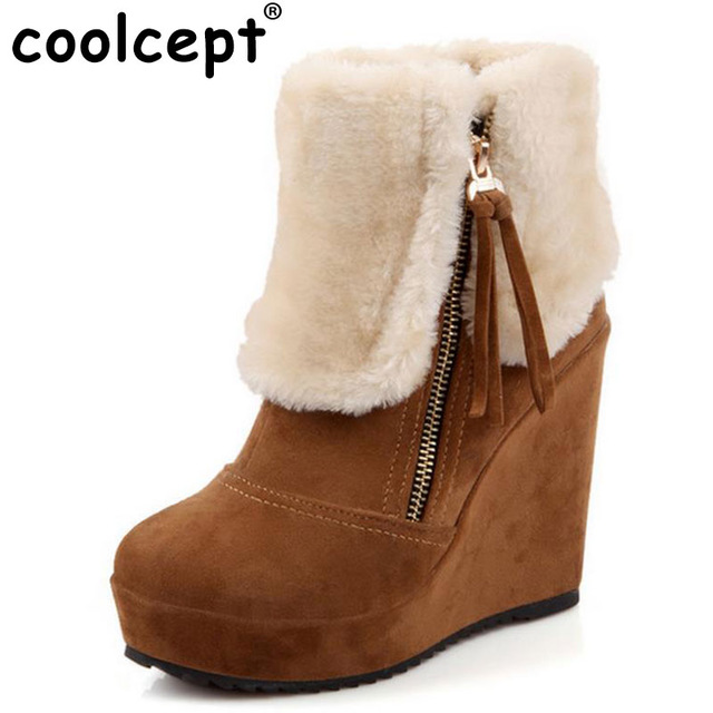 brown heeled boots coolcept free shipping ankle half short wedge boots women snow fashion  winter warm boot GGBVNLY