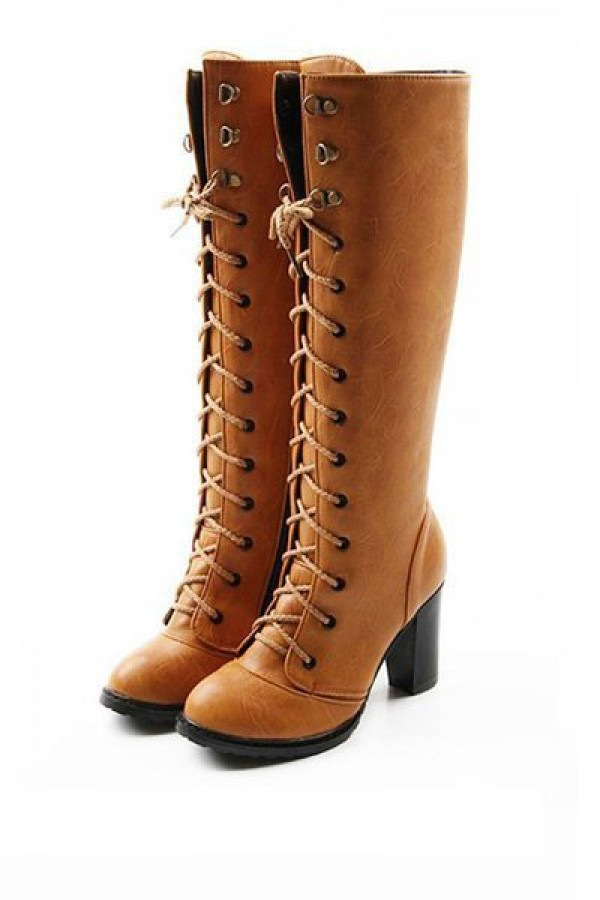 brown heeled boots light brown faux leather lace up chunky heel boots CTIGJVE