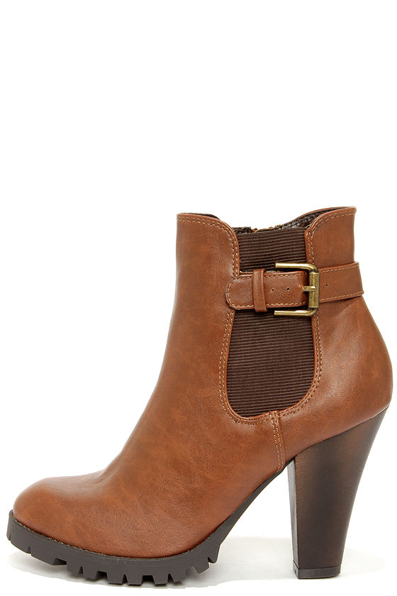 brown heeled boots soda magic tan brown high heel ankle boots OHNSGTE