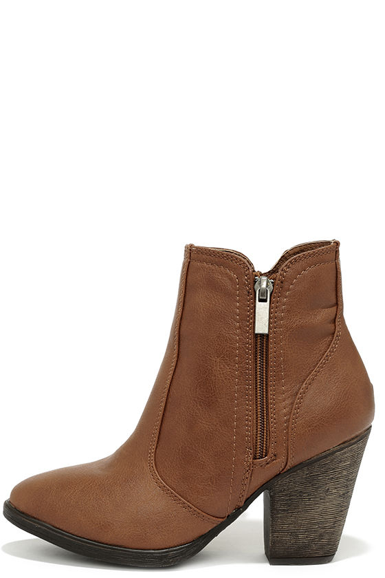 brown heeled boots straight up now chestnut brown high heel ankle boots CIYEQFZ