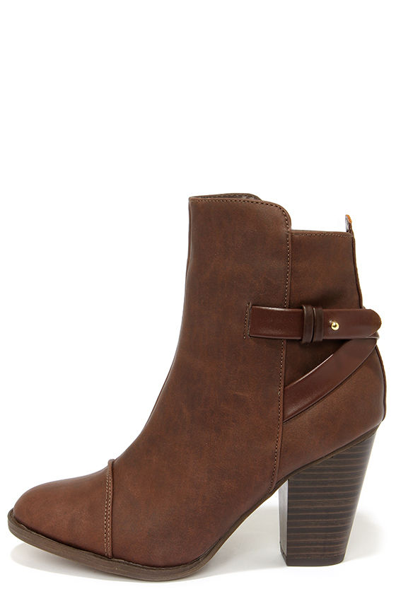 brown heeled boots swoon walker brown high heel ankle boots QZLJXGC