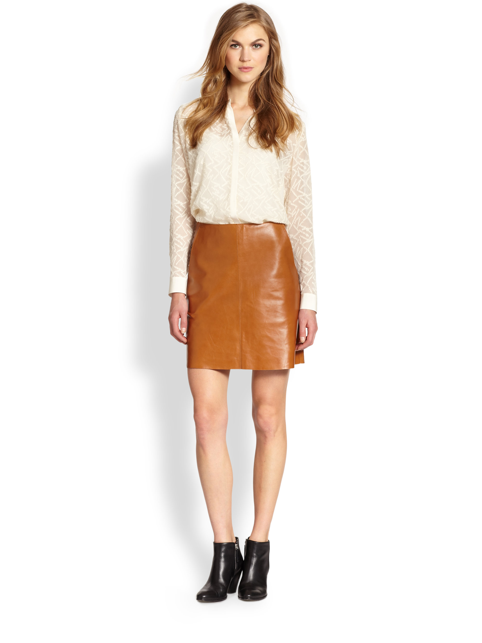 Brown Leather Skirt gallery LPYQNKG