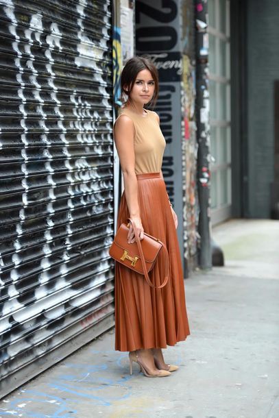 Brown Leather Skirt like follow XWFSWXK