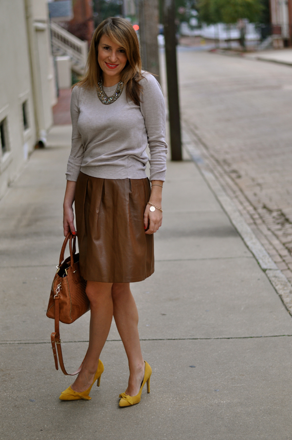 Brown Leather Skirt target sweater, forever21 skirt, sole society heels, rebecca minkoff bag,  sorrelli necklace (c/o) QKCGPMU