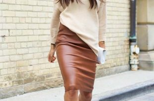 Brown Leather Skirt we see another eye-catching light brown leather pencil skirt teamed with  white sweater and MNKEJOI