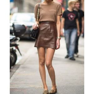 Brown Leather Skirt zara skirts - zara brown leather skirt with tags XPTKZVD