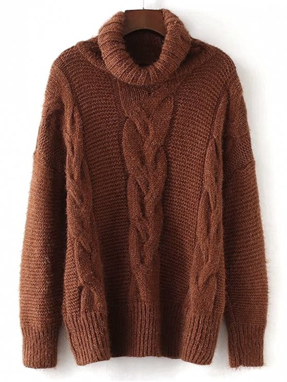 Brown Sweaters best textured turtleneck cable knit sweater - brown one size FLNLZMX