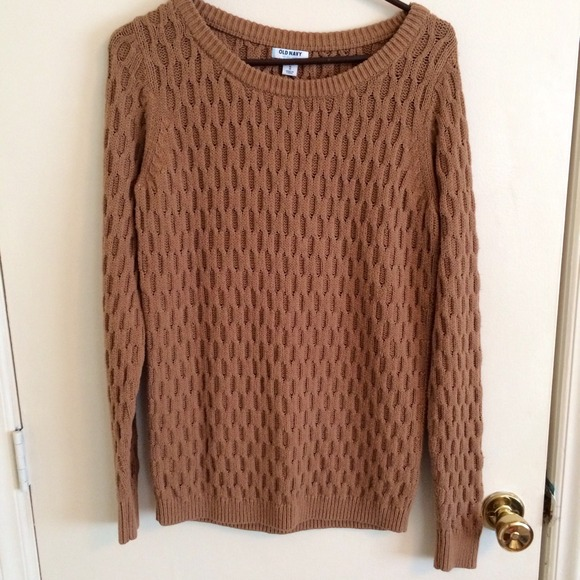Brown Sweaters honeycomb knit brown sweater JBONGKM