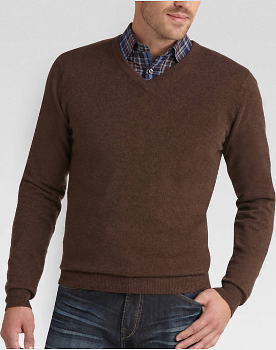 Brown Sweaters joseph abboud brown v-neck cashmere sweater - mens joseph abboud  collection, clothing - YBXYVGN
