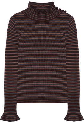 Brown Sweaters ... see by chloe striped wool sweater - dark brown FBJIZWG