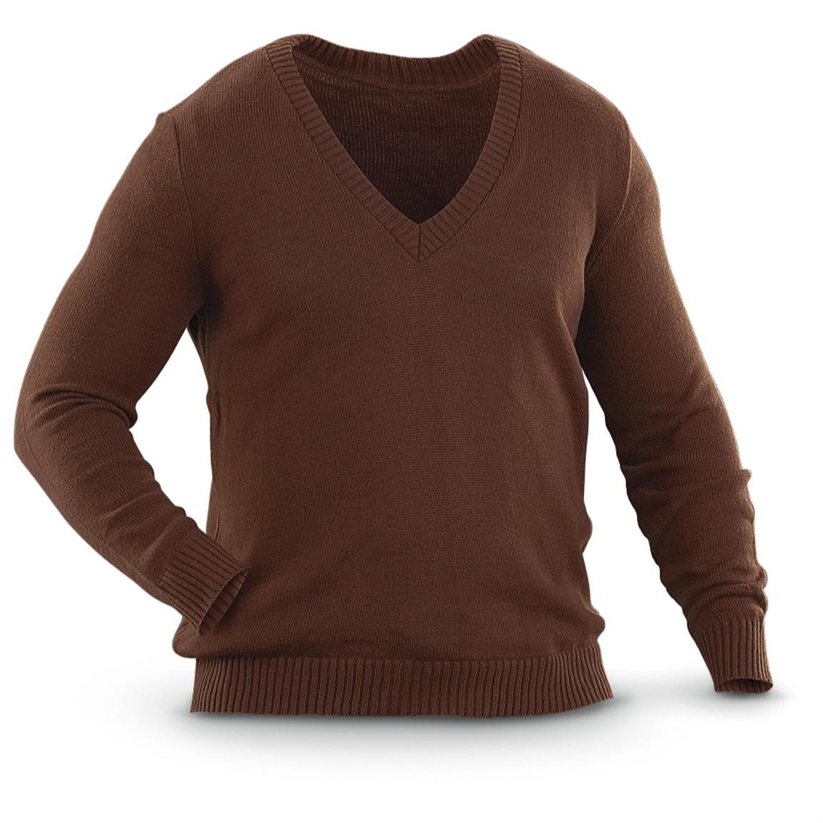 Brown Sweaters used bulgarian military surplus v-neck wool sweater, brown MWNMQGM
