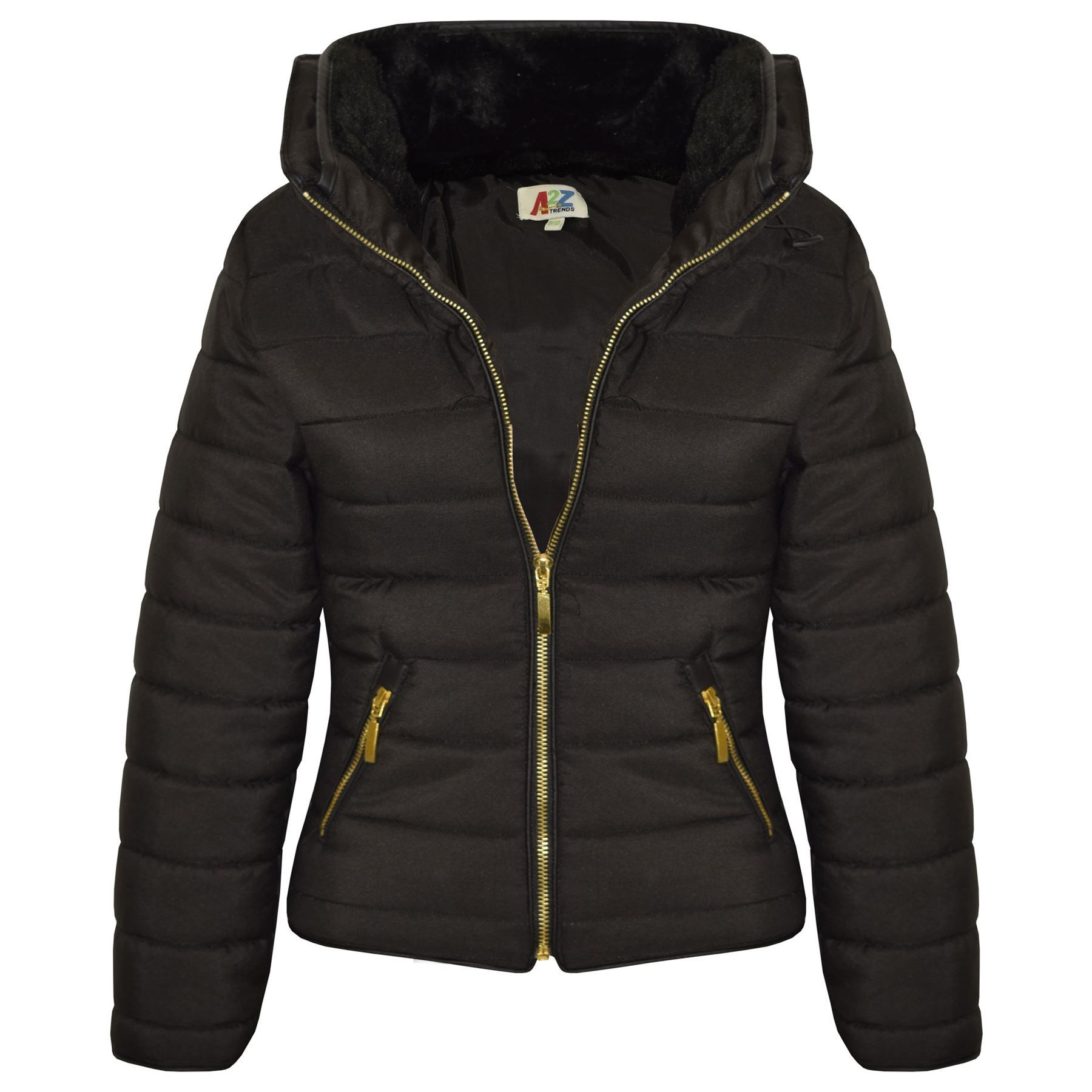 bubble coats girls-jacket-kids-padded-black-puffer-bubble-fur- TZINGQN