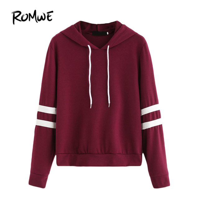 burgundy hoodie romwe casual women hoodie for autumn ladies burgundy long sleeve varsity  striped drawstring hooded QDEBZSF